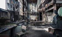 Creepy and haunting factory atmosphere