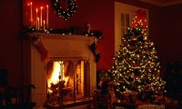 Christmas Eve by the fireplace