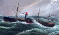 Steamship beating through a storm