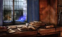 Studying in a Rainy Ravenclaw Common Room
