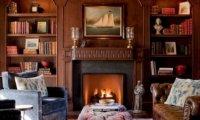 Inside a cozy warm study on a stormy night.