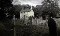 A windy walk through a haunted graveyard at midnight