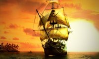 ship on a calm sea with muted battle music for RPGs