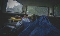 car camping w morning rain