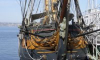 Sailing ship laid ashore
