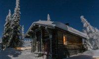 Cabin in blizzard