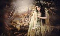 Elven priestesses seek shelter from a nighttime storm