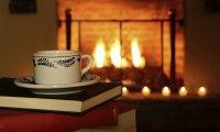 Cozy fireplace on a stormy night