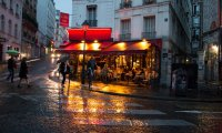 a café patio on a rainy day