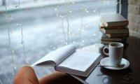 Sleepy coffee shop on a rainy day.