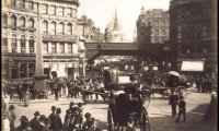 People, horses, and ambient sound of a Victorian city street