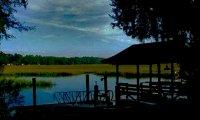 Swamp ceek near a cabin