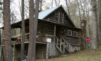 Cabin in wood under gray sky