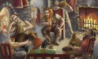 A lively tavern in Dwarven lands