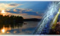 http://www.ambient-mixer.comLight filled dawn on a placid lake, comic creation of a new day.