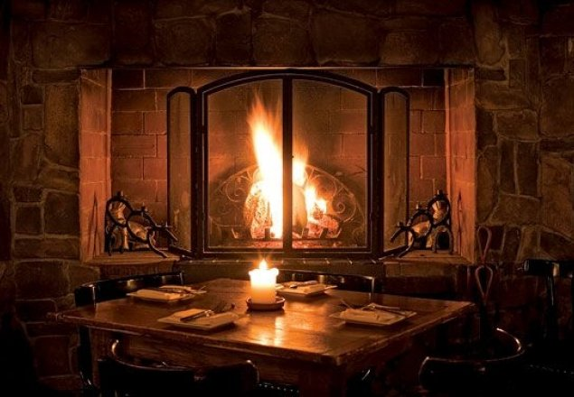Fire crackling on a stormy night audio atmosphere