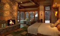 fancy cabin in a snowstorm