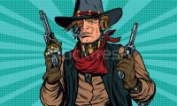 Gunfight on a sci-fi western scenary