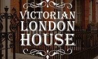 19th-century London street through open windows
