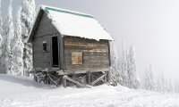 A shack in the snow