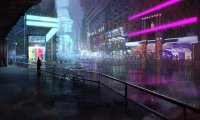 Calm night at the Neon cafe (Cyberpunk)