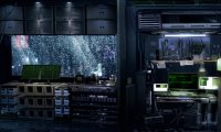 Hacker's room in a night of rain