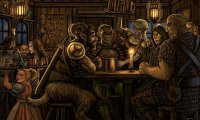 A bustling tavern.