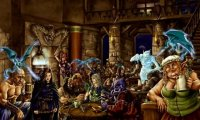 People are dancing, drinking, and otherwise making merry in this crowded tavern.