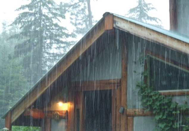 Relax And Watch The Rain From The Comfort Of Your Log