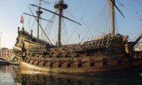 A siren song with harp aboard a ship