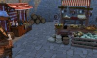 marketplace in medieval town