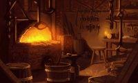 Blacksmith's forge in a bustling village
