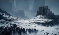 Fantasy Army Marches through Snowy Peaks