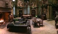 The Slytherin Common Room with Students
