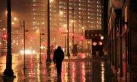 The pouring rain,