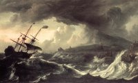 On a ship, at sea, during a storm
