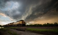 Distant train in storm