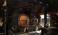A quiet blacksmith forge